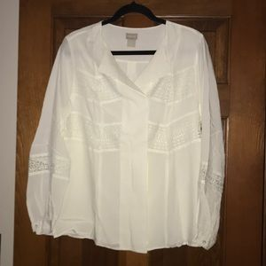 Gorgeous Chico's Pullover Lace Trim Top NWT